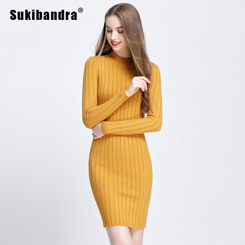 acfe937fdb8c Sukibandra Autumn Long Sleeve Casual Women Office Bodycon Yellow Dress  Elegant Vintage Winter Slim Ladies Short