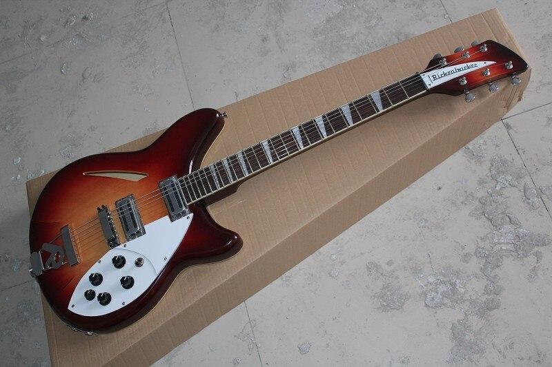 Оптовая продажа Рик Гитары, 2 пикапы + 6 строка Sunburst гитары с R вибрато с двойной Выход отверстие 14 11 11