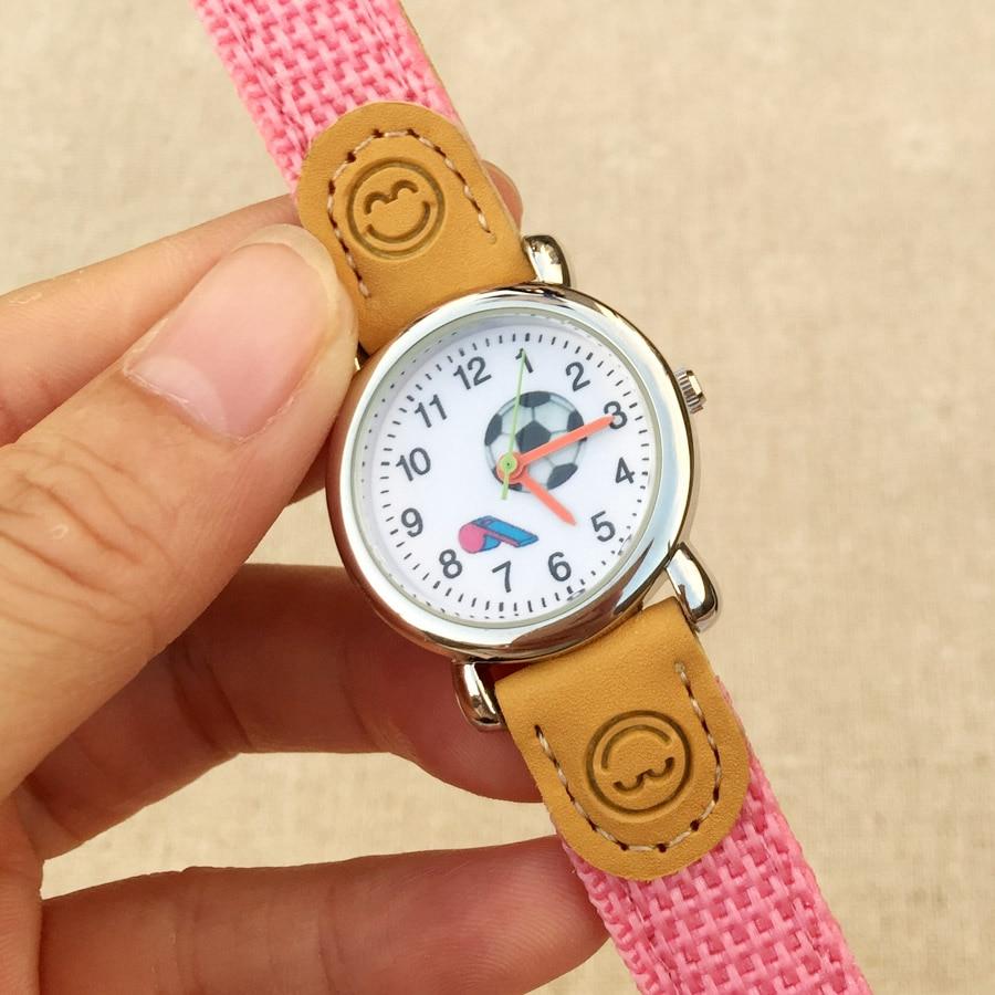 Cartoon Football Style Children Students Girls Boys Nylon Strap Waterproof Quartz Wrist Watch 04 Children's Watches