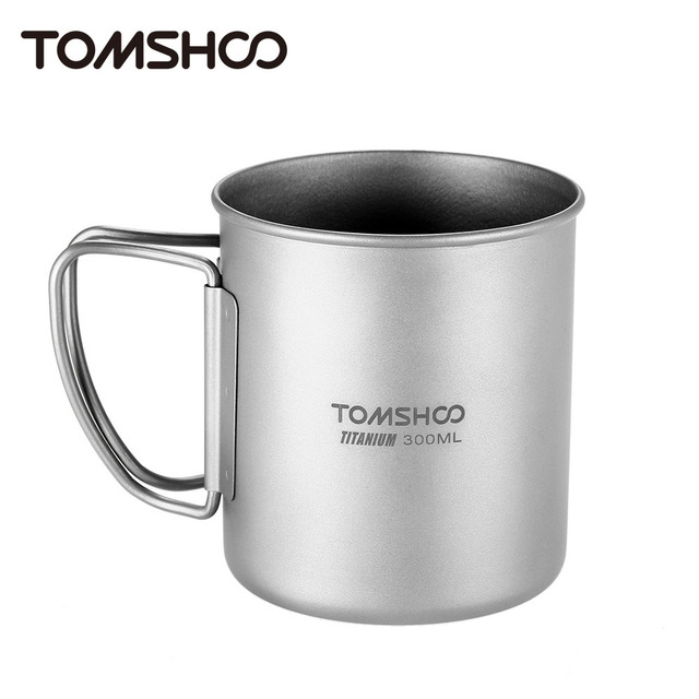 TOMSHOO 300ml Titanium Cup Water Cup Mug Outdoor Portable Camping Picnic Water Mug Cup with Foldable Handle Outdoor Tableware