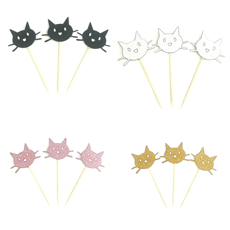 12Pcs Sliver Gold Pink <font><b>Black</b></font> <font><b>Cat</b></font> Cupcake <font><b>Toppers</b></font> Pick Top Flag Decoration for Boy Birthday Party Wedding Decor Supplies image