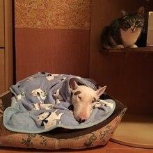 Мягкий, флисовый, для собаки коврики Бультерьера одеяла с бульдогом для кровать коврики дом любимчика кошки собаки кровать Одеяло диван-кровать