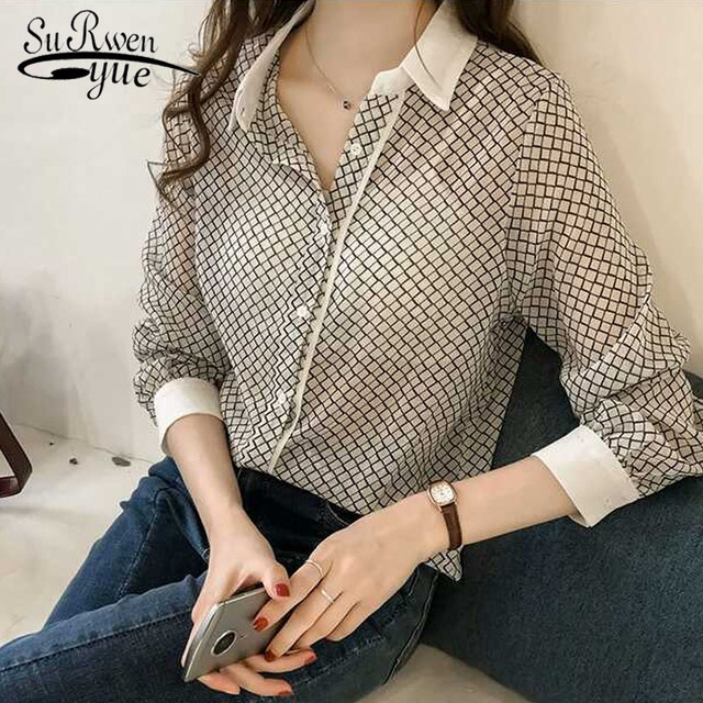 d61bb505fb6896 Autumn Plus Size 3XL 4XL Blouse Women Striped top female Fashion Chiffon Blouse  Shirt 2019 Long Sleeve ...