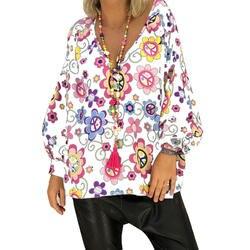Плюс Размеры 5XL v-образным вырезом Для женщин топы и блузки 2018 Bohe Elegnat с цветочным рисунком рубашка с длинными рукавами Топы Camisas Mujer