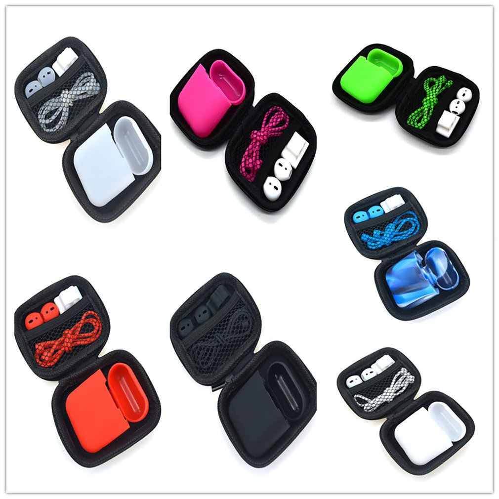 Mini Zipper Hard Headphone Case Earphone Case Storage Bag Protective USB Cable Organizer For Airpods Earphone Case