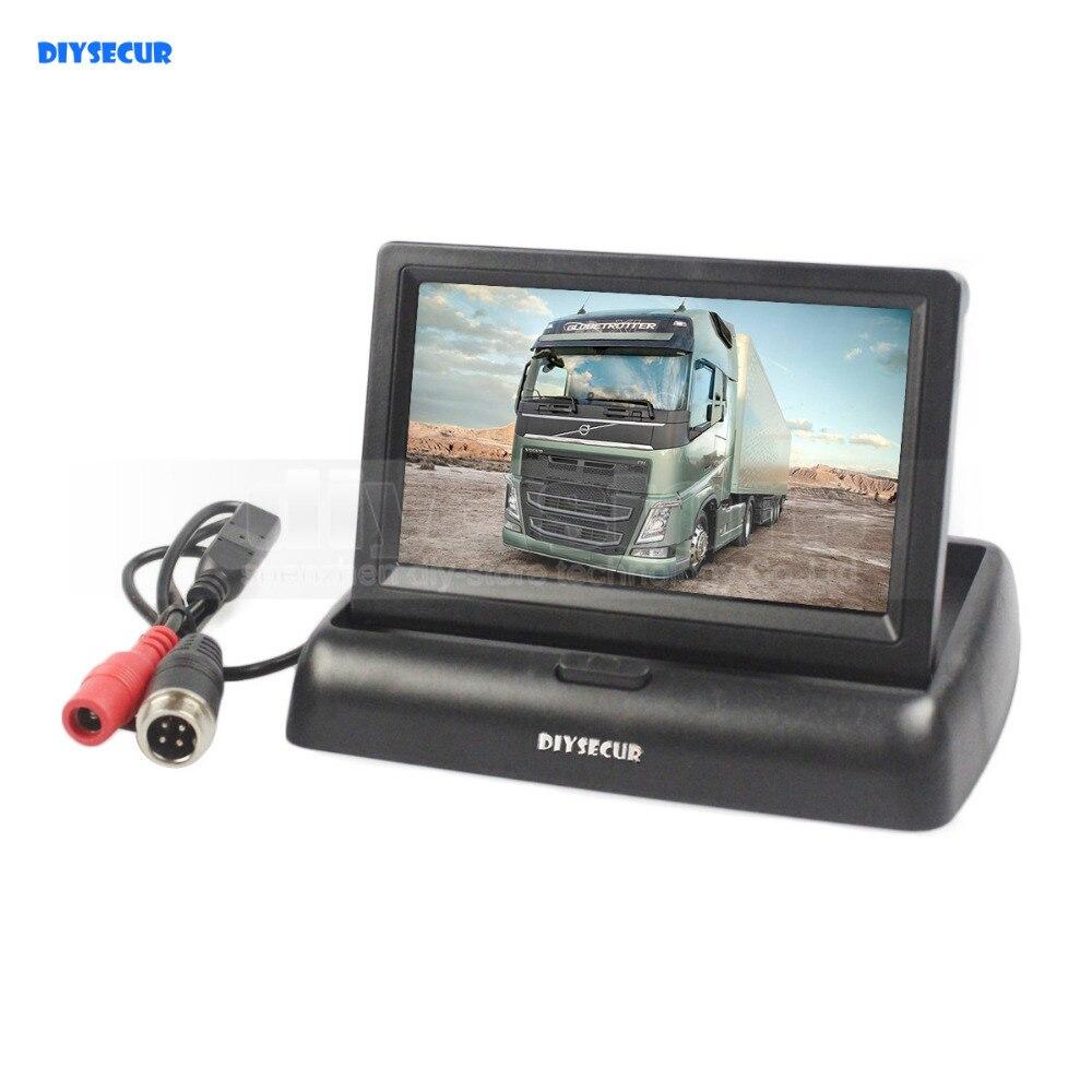 DIYSECUR DC12V-24V 4PIN 4.3 inch Foldable TFT LCD Reverse Rear View Car Monitor for Car Truck Bus