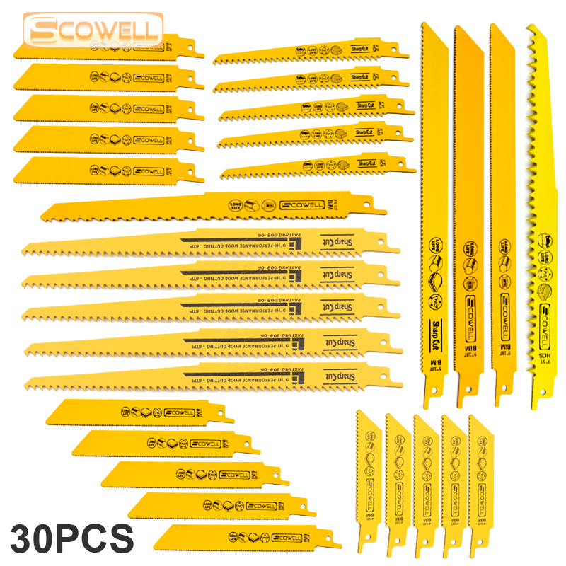 30% Off 30PC Saw Blades Metal Cutting Blades Reciprocating Saw Blade Set For Wood PVC Fibreboard Cutting Sabre Saw Blades Jigsaw