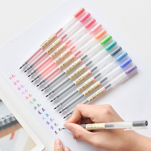 12 unids/lote Gel Pen 0,5 mM de color pluma de tinta de la pluma de la Oficina de la Escuela de Muji estilo 12 colores