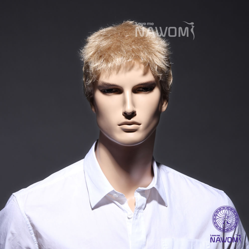 !Fashion Mens Short Handsome Straight Blonde Cosplay Party Hair Full Wig /blonde male wigs good quality - Nawomi Wigs store