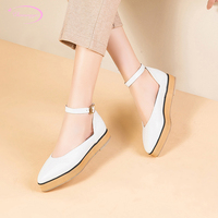 Japanese casual style sexy pointed toe pumps fashion belt buckle platform black white pink thick low with women shoes big size