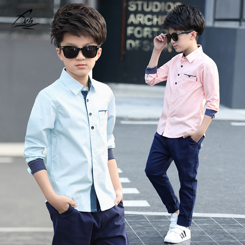Kids Clothes Spring Autumn Boys Cotton Blouses Kids Boys Long Sleeve Shirt Children Fashion Shirt 5-15 Years Turn-down Collar