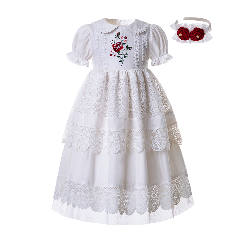 Pettigirl Wholesale Embroidery Doll Collar White Flower Girl Communion Lace Dresses Summer Solid Dress Length under