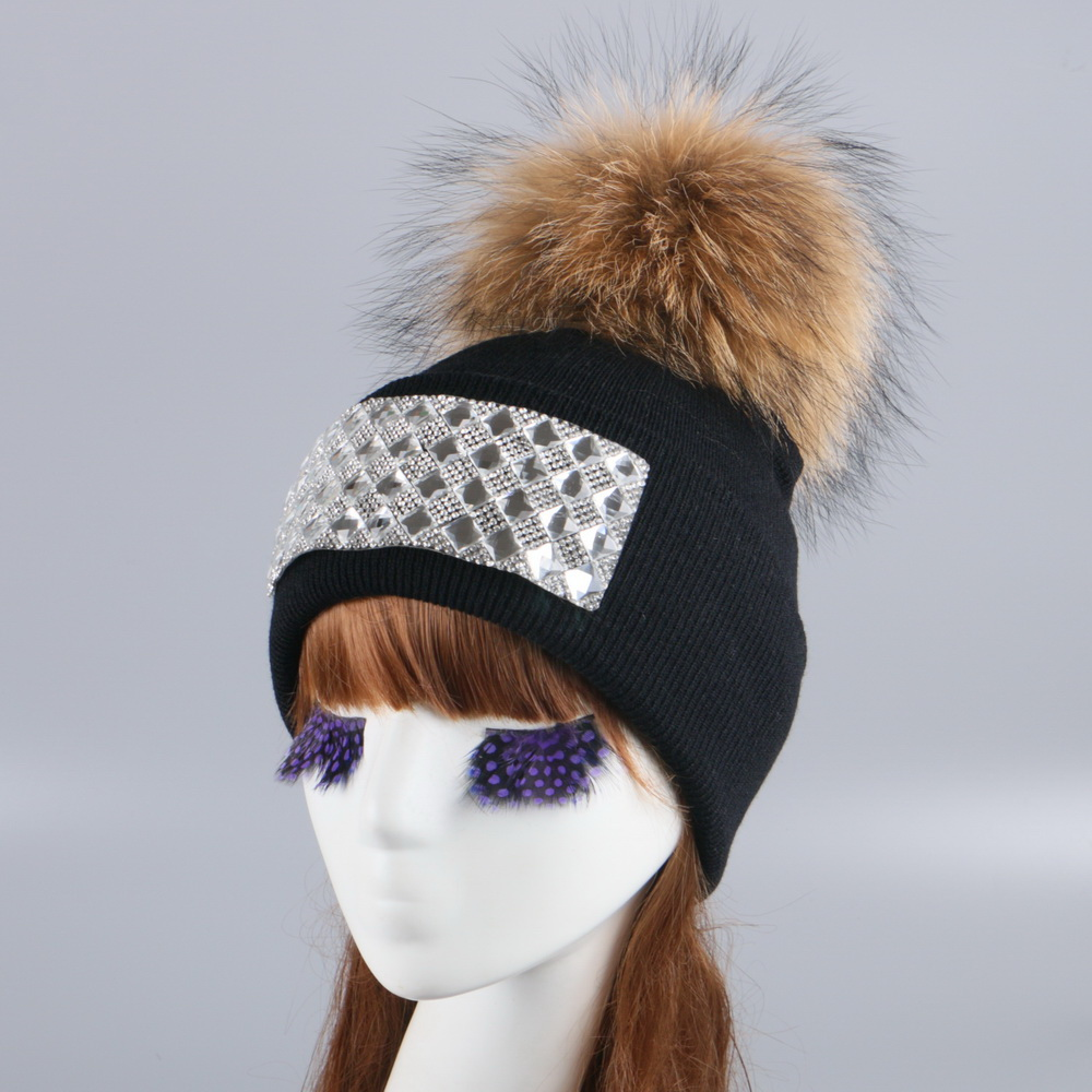 women girl fur pompom winter hat cap knitted crochet thick thermal wool ball beanie hats white black large mink fox pom skullies unisex 1d one direction letter hats gorros bonnets winter cap skullies beanie female hihop knitted hat toucas with pompom ball