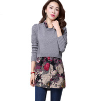 2016 Winter Women Floral Sweater Shirt Dress Pullover Long Sleeve Poncho Casual Lady Sweater Tunics Robe