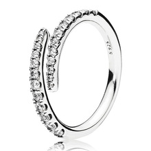 7e48d83fd Authentic 925 Sterling Silver Ring Shooting Star Open Rings With Crystal  For Women Wedding Party Gift