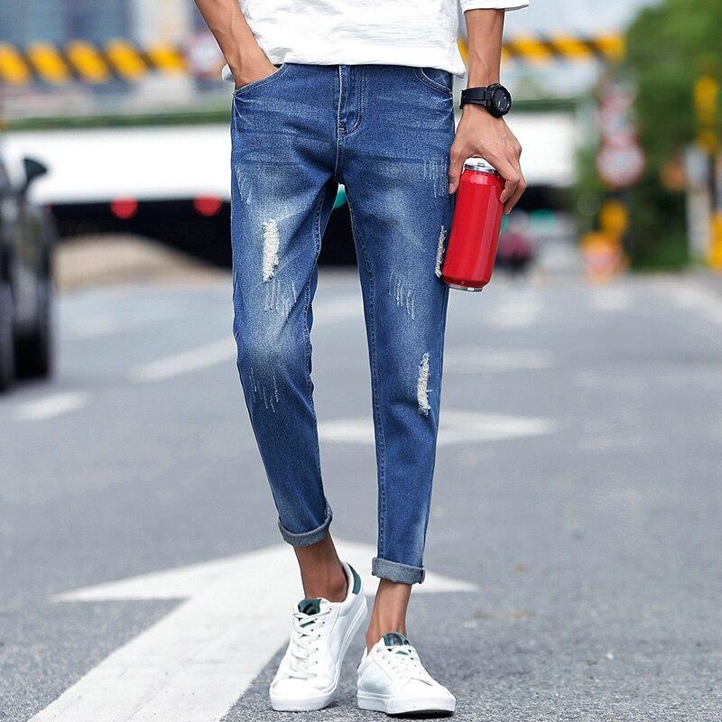 Mens Skinny Jeans Slim Denim Runner Cozy Stretch Stretch Pencil Pants Jeans Hole Medium Mens Blue Sex Mens Fashion Casual Men