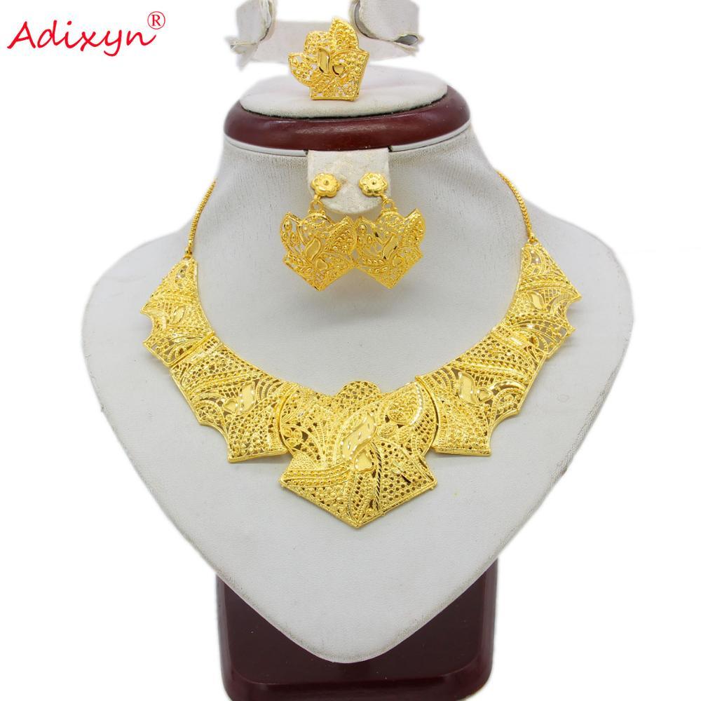New Necklace Ring Earring Jewelry Set For Women Girls Gold Color Copper Heart African Ethiopian Dubai Innrech Market.com