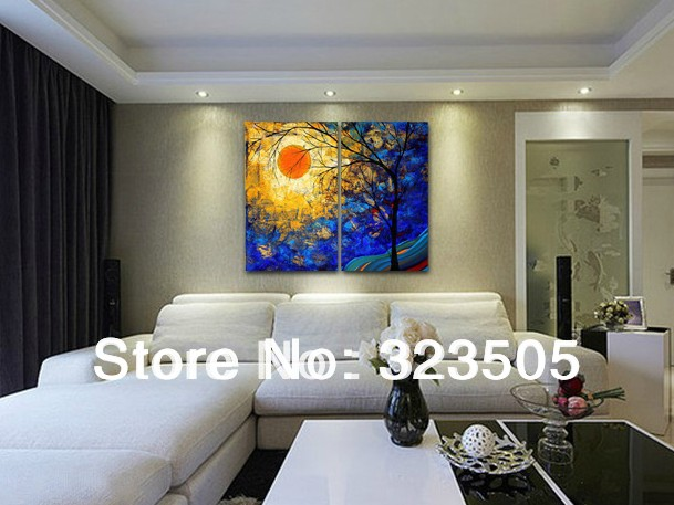 2 Piece Abstract Modern Wall Art Canvas Family Tree Oil