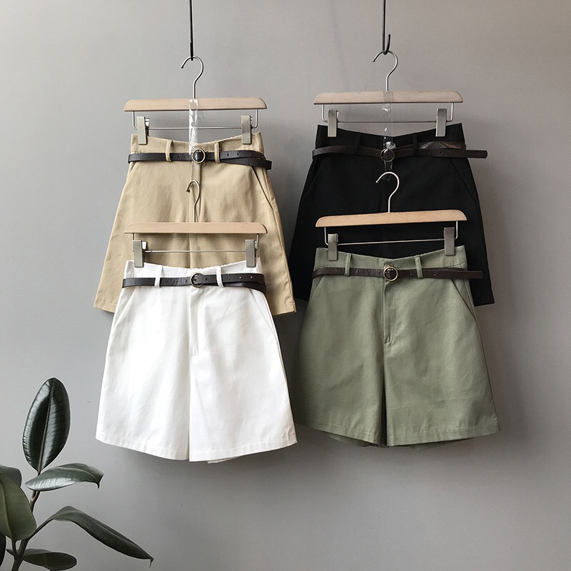 Summer New Women's Wide Leg Shorts With Belt Classic Vintage High Waist Green Female Casual Summer Ladies Shorts For Women