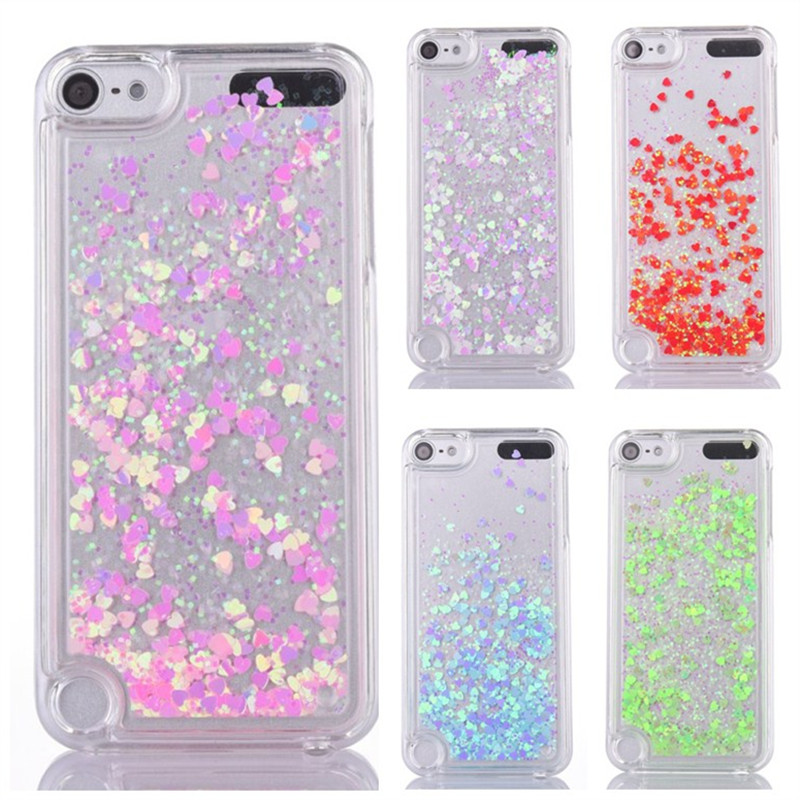 on sale 094b7 9c764 Glitter Liquid case sFor Funda iPod Touch 6 cases For Coque Apple iPod  Touch 5 6 iTouch 5 phone case PC Dynamic Sand Back cover