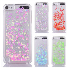 Glitter Liquid case sFor Funda iPod Touch 6 cases For Coque Apple iPod Touch 5 6 iTouch 5 phone case PC Dynamic Sand Back cover antiskid tread protective silicone soft back case for ipod touch 5 deep pink