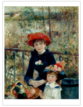 frameless canvas painting figure posters Imagich Top 100 prints Two Sisters, or on the Terrace 1881  By Pierre-Auguste Renoir top posters холст top posters 50х75х2см g 1044h