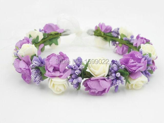 Flower Girl Crown Purple Foam Paper Rose Berries Forest Wedding Hair Wear  Floral Hair Accessories Maternity ed730f1e3b51