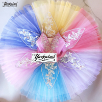 Adult Children's Professional Ballet Tutu Rainbow Ballet Costume Kids Sleeping Beauty Dress Female Pancake Tutu Pettiskirt Girls