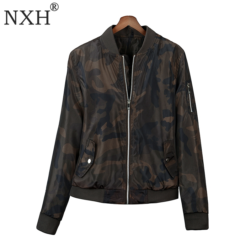 NXH 2018 Womens Long sleeves Camouflage   jacket   pattern Zipper Spring Autumn Winter coat Outwear   Basic     jacket   Pocket Fashion