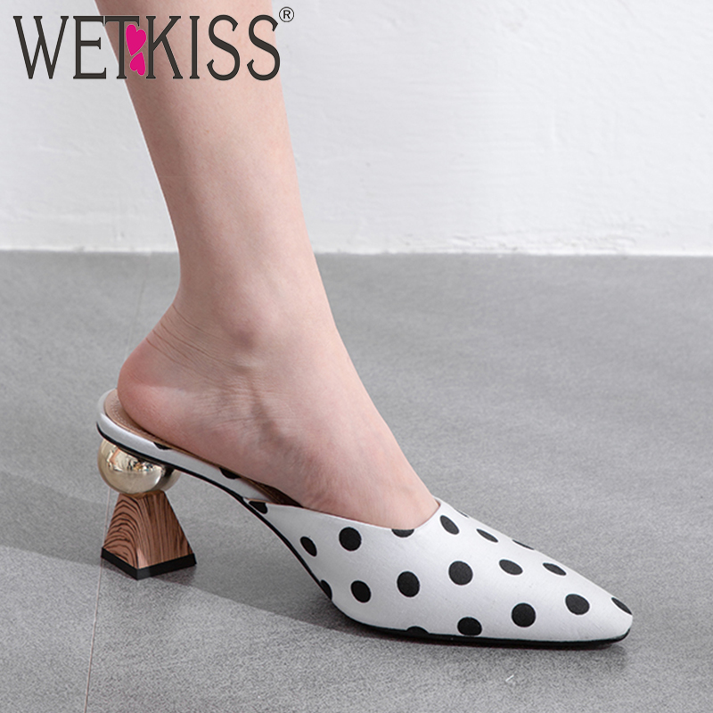 WETKISS Strange Style Slippers Women Summer 2019 New Slides Shoes Party Mules Shoes Ladies Polka Dot