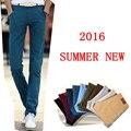 Брюки мужчины 2016 летние длинные брюки хлопчатобумажные брюки случайные прямые плюс размер 38 брюки мужчины pantalon homme