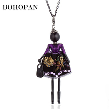 цена на Doll Necklace For Women Embroidery Sequin Dress Black Alloy Figure Doll Statement Necklace Girls Long Sweater Chain bijoux femme