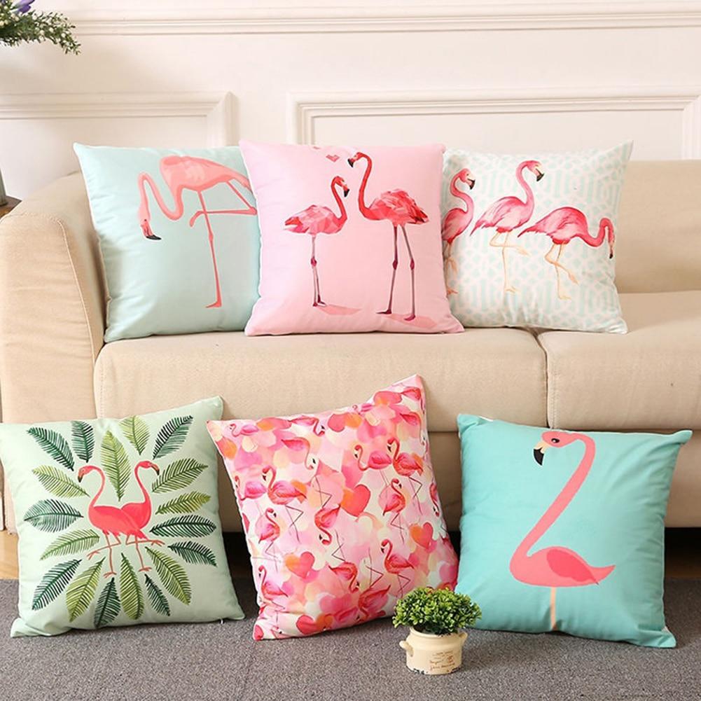 18 Inch Summer Flamingo Throw Pillow Case Sofa Bed Home Decor Square  Cover