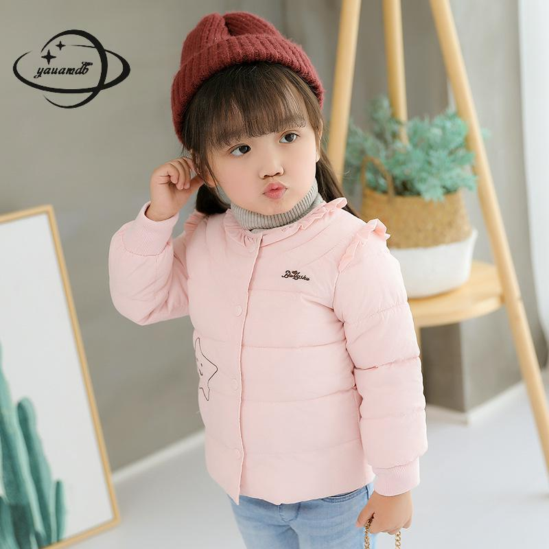 Yauamdb Kids Parkas Jacket Winter 3-9y Girls Coat Solid Cartoon Children Outerwear Single Breasted O-neck Warm Clothes Ly38