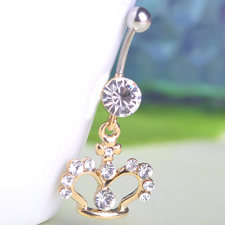 Fashion Women Gold Crown Percings Colar Feminino Belly Button Rings For Gothic Woman Noble Crystal Piercing Pircing Men Bijoux