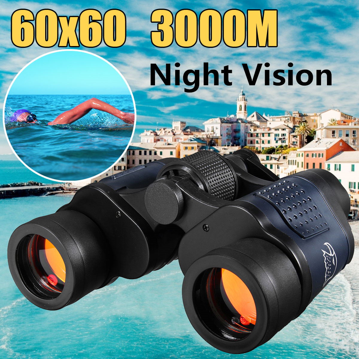 60X60 Télescope Optique Jumelles de Vision Nocturne Haute Clarté 3000 m Binoculaire Lunette De Chasse En Plein Air Sport Oculaire