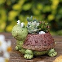 Nuovo opaco tartaruga piccolo animale Re ornamenti artigianali in resina Bacino vaso di fiori decorazione del giardino carnoso