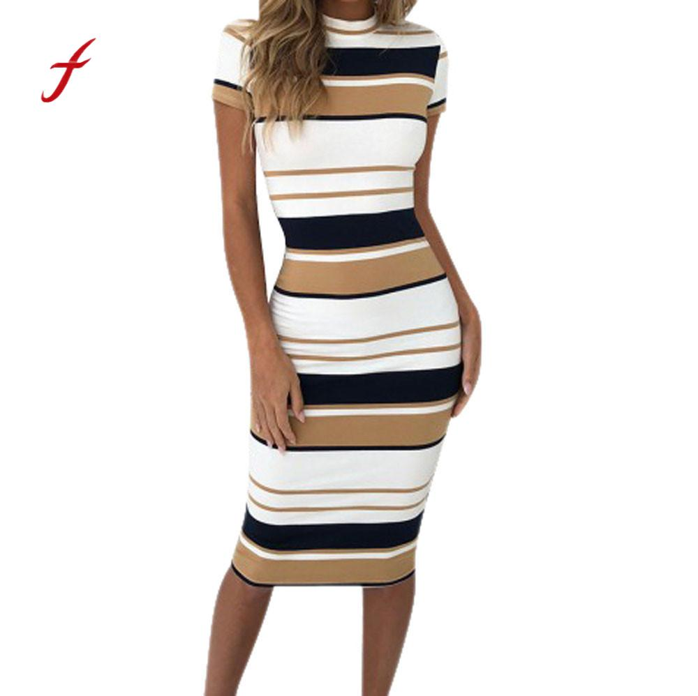 Detail Feedback Questions about Feitong 2018 Women Dress Summer Slim Bodycon  Knee Length Stripe Party Sheath Dress Sexy Club Wear Dresses Vestidos Female  ... 5964be62a356