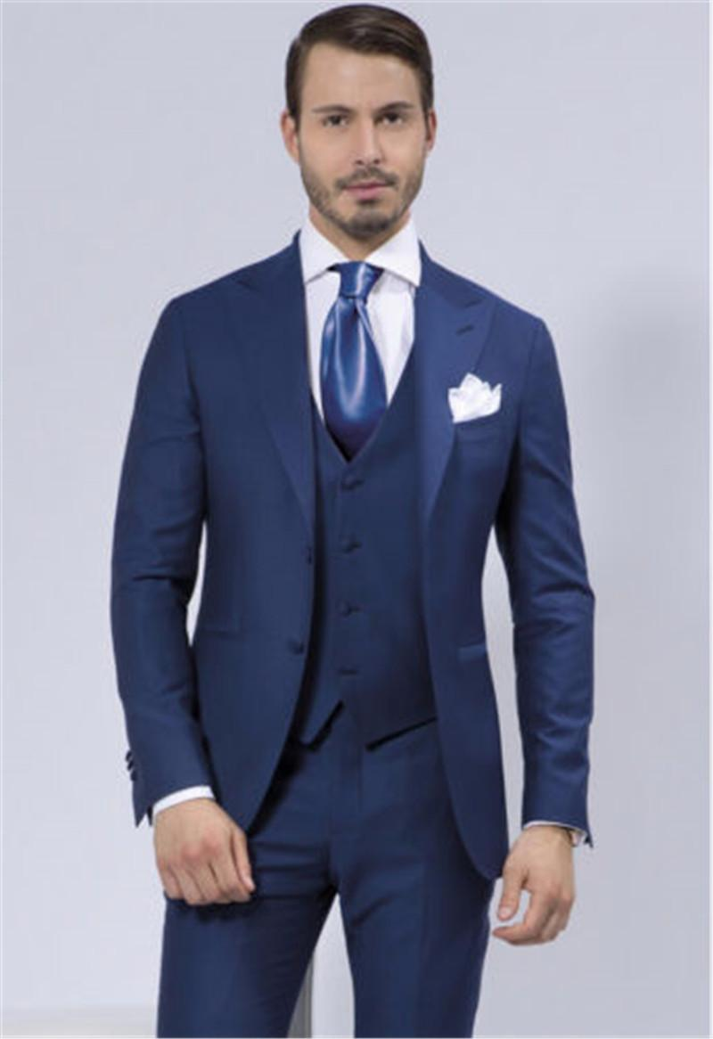 2018 Airtailors Mens Suits Fashion Navy Blue Wedding For Men Shawl Lapel Groomsmen