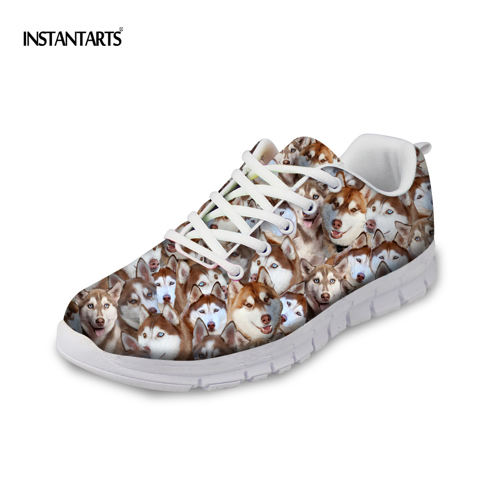 INSTANTARTS Plus Size 35-43 Women Casual Flats Cute 3D Dog Husky Printed Comfortable Sneakers for Woman Lace Up Soft Flat Shoes instantarts fancy flamingos women flat sneakers comfortable spring woman casual lace up flats air mesh breathable students shoes