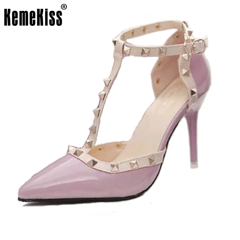 цены  Hot Women Pumps Ladies Sexy Pointed Toe High Heels Fashion Buckle Studded Stiletto High Heel Sandals Shoes size 34-40