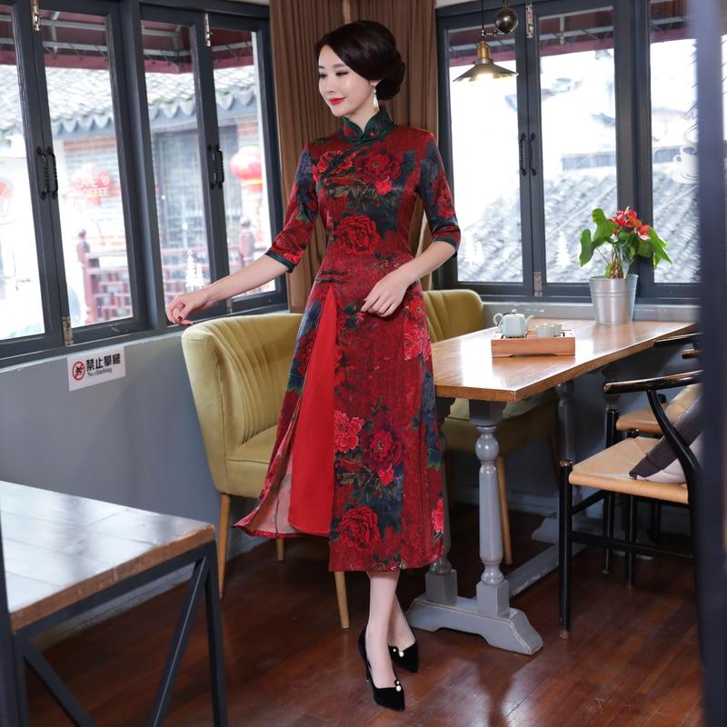 Vietnam Aodai Cheongsam Dresses Dinner party dress Women Mandarin Collar Silm Qipao dress Size M 3XL