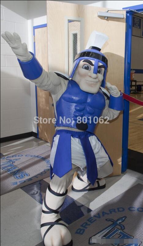 Custom-made Blue Titan Spartan trojan knight Mascot Costumes Halloween Christmas Birthday Party Dress Costume Солдат