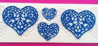 Wholesale 10Pcs Lot CT5008 Heart Shapes Lace Soft 100 Platinum Silicone Cake Fondant Embossing Gum Paste
