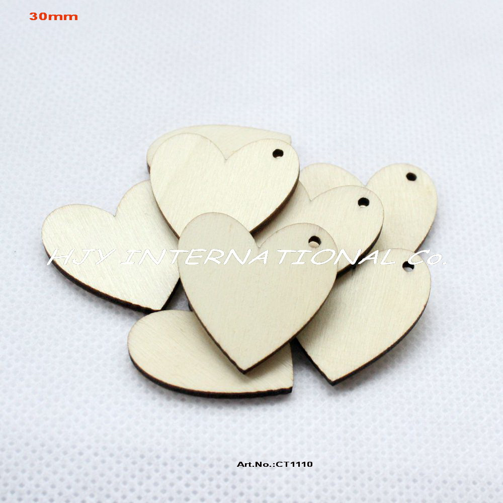 Arts and crafts supplies cheap -  100pcs Lot 30mm One Hole Unfinished Blank Wooden Heart Crafts Supplies Paint Wedding