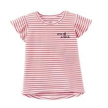 Модные футболки для маленьких девочек топы в красную полоску для новорожденных из хлопка, Детская футболка, одежда блузка для малышей Детская одежда для малышей