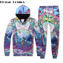 PLstar Cosmos Women Fashion Autumn Tracksuit 3d Rick And Morty Printed Hoodie Pants Set 2 pcs Top Streetwear