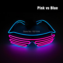 Double Colors EL Wire LED Neon GLowing Flashing Shutter Shaped Glasses Powered by 2AA Batteries For Party Wedding Decoration