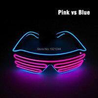 Los Colores del doble EL Cable de LED Neon GLowing Flashing Shutter Shaped Glasses Alimentado por $ NUMBER Baterías AA Para El Partido Decoración de La Boda