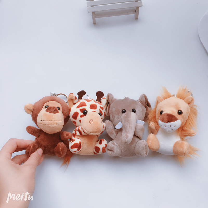 1PC Cute Stuffed Doll Jungle Brother Tiger Elephant Monkey Lion Giraffe Plush Animal Toy Best Gifts for Kids 10cm